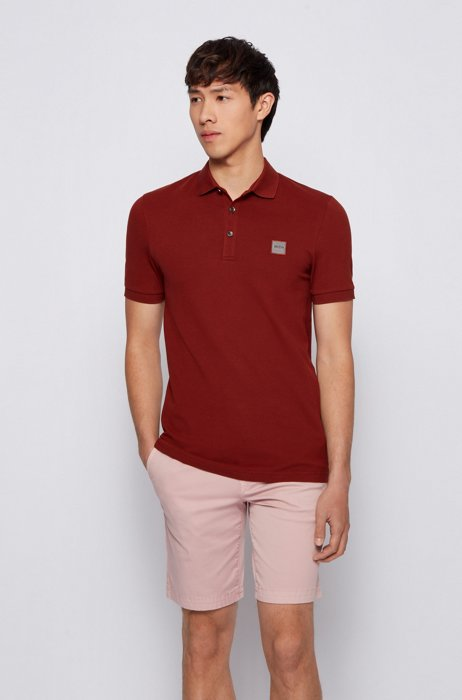 Slim-fit polo shirt in washed piqué with logo patch, Brown