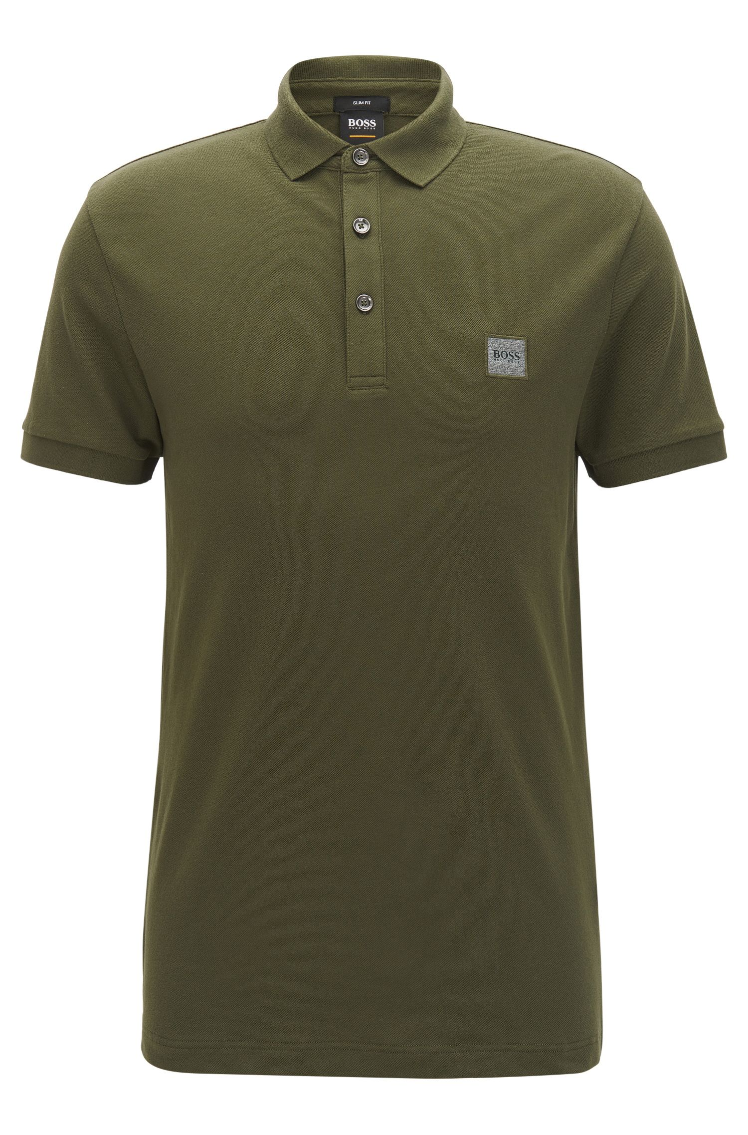 Slim-fit polo shirt in stretch cotton piqué, Dark Green
