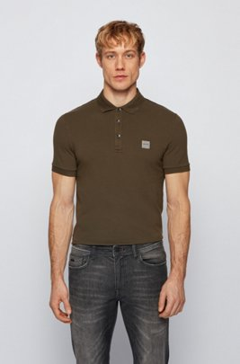 Slim-fit polo shirt in washed piqué with logo patch, Khaki
