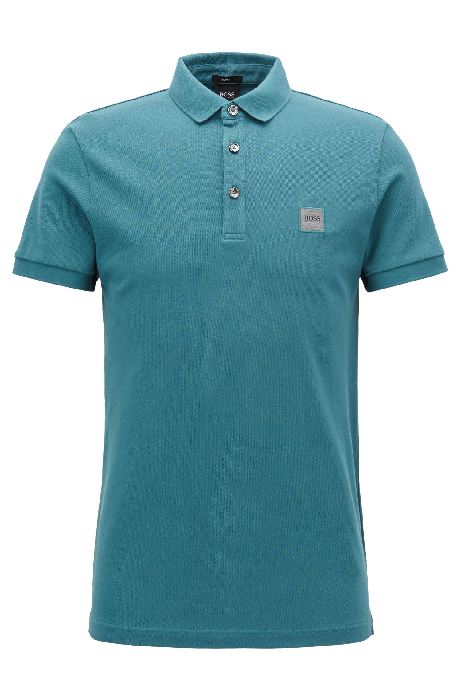 Slim-fit polo shirt in stretch cotton piqué, Green
