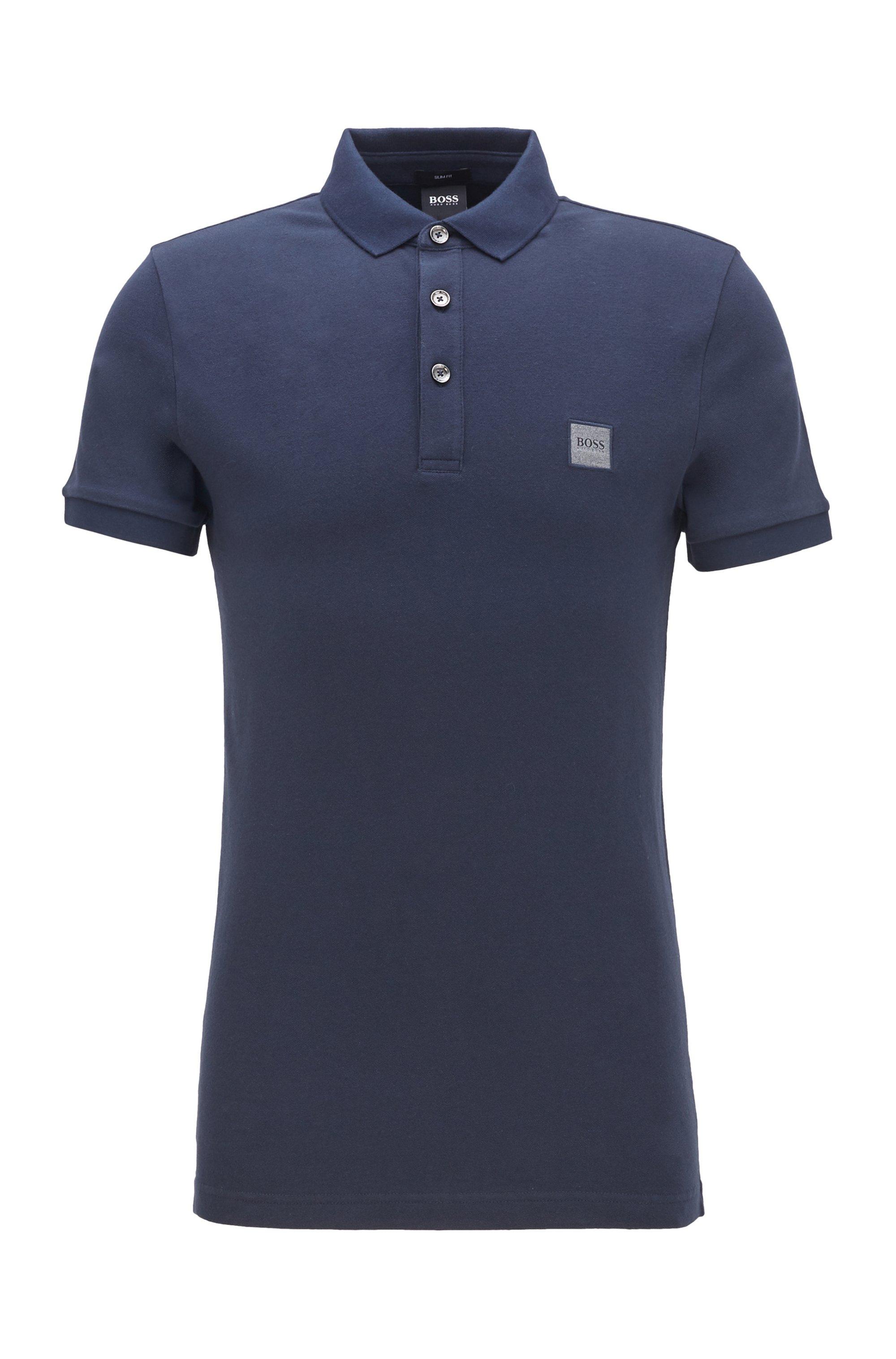 Poloshirt aus gewaschenem Piqué mit Logo-Aufnäher, Dunkelblau