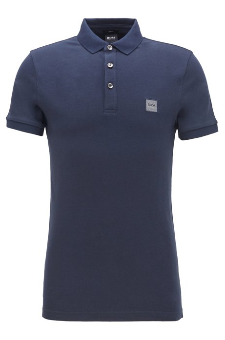 Slim-fit polo shirt in washed piqué with logo patch, Dark Blue