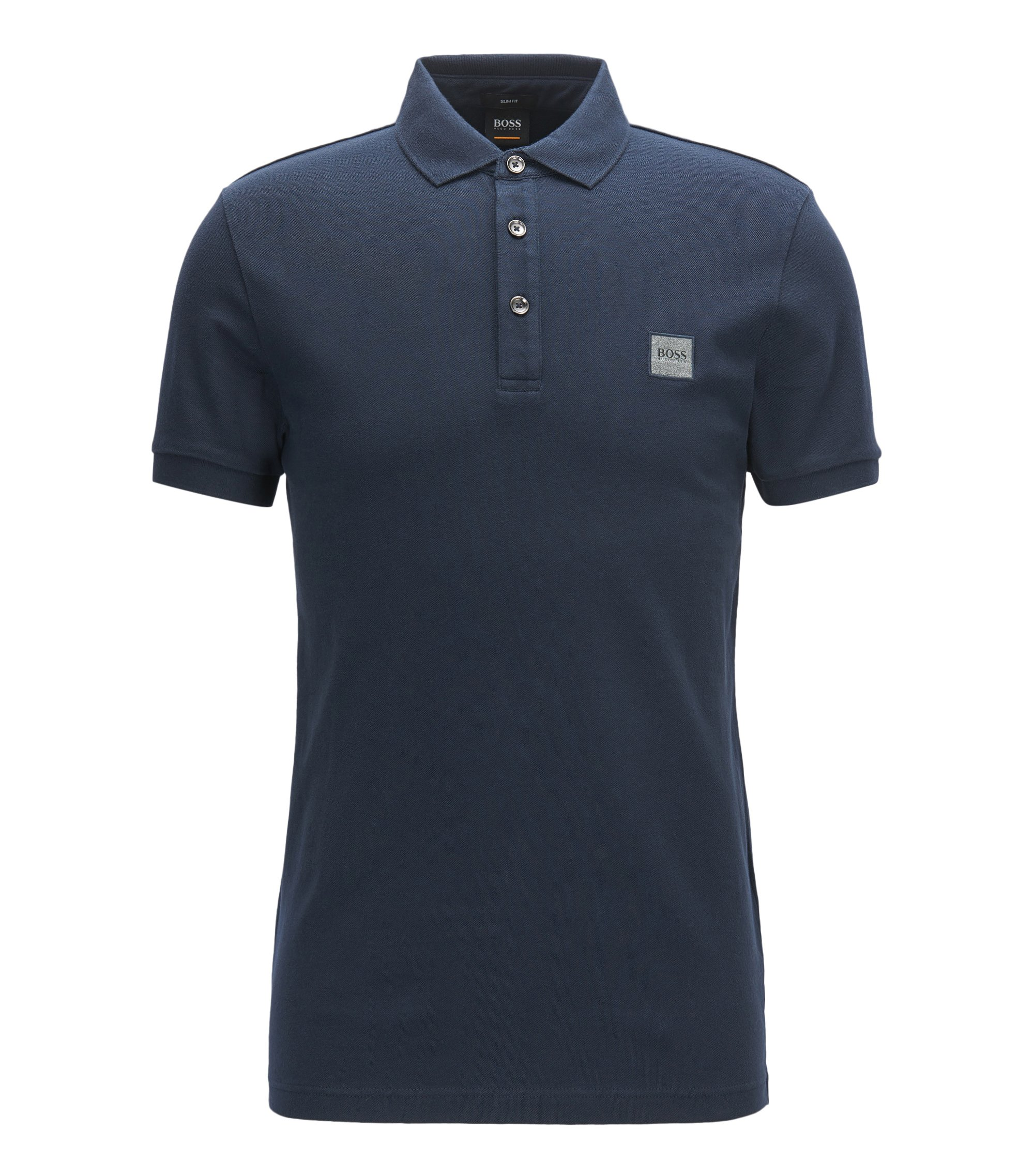 Slim-fit polo shirt in stretch cotton piqué, Dark Blue