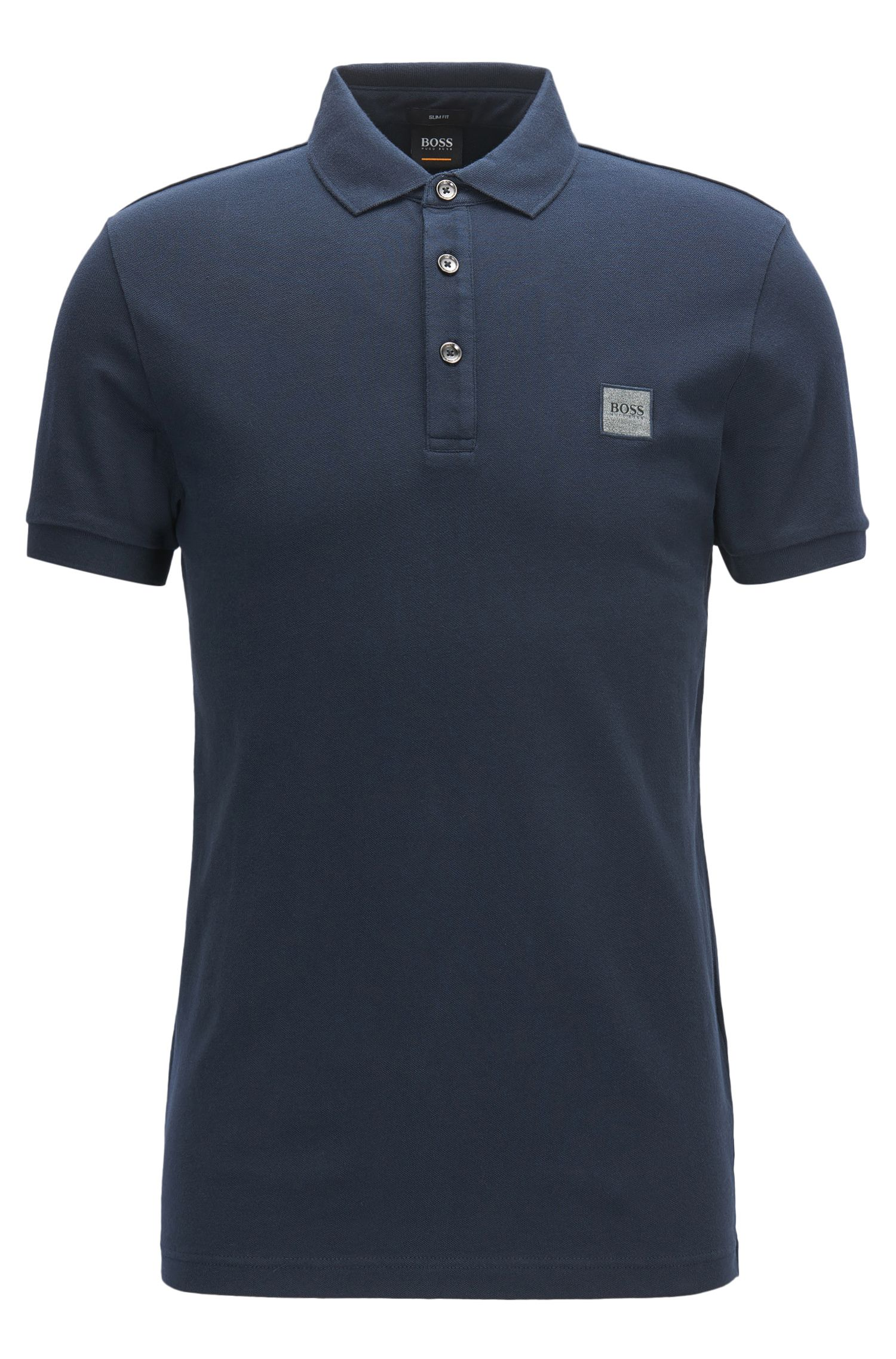 Slim-fit polo van katoenpiqué met stretch, Donkerblauw