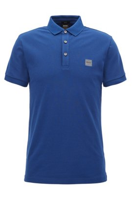 Slim-fit polo shirt in stretch cotton piqué, Dark Blue