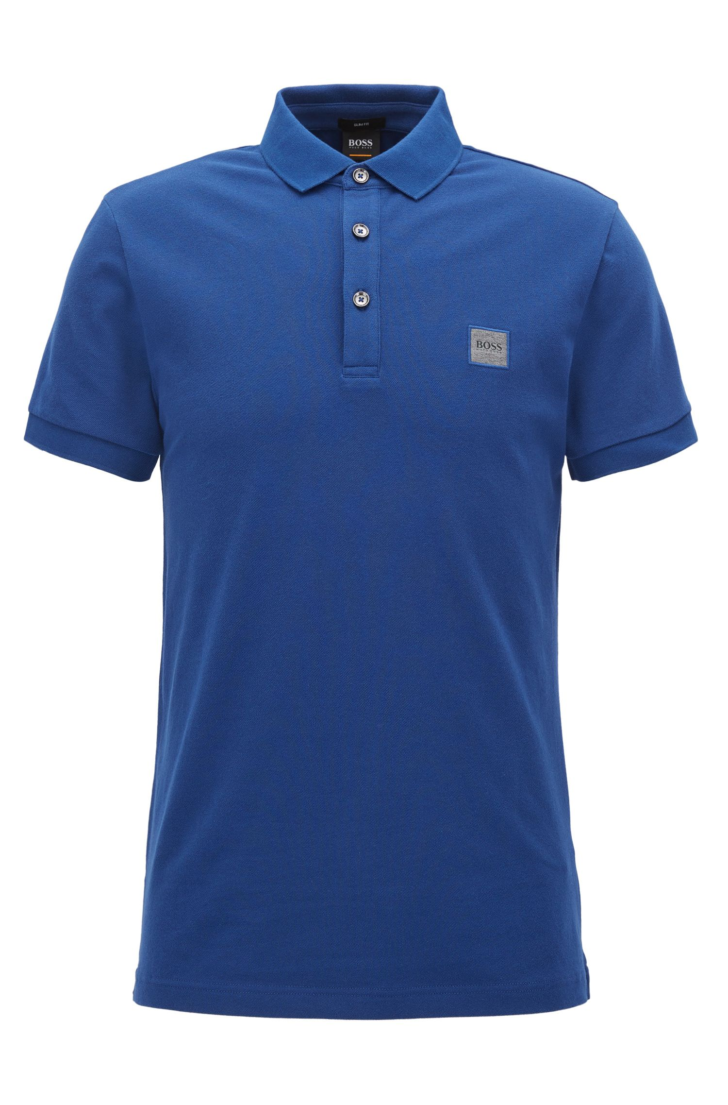 Slim-fit polo van katoenpiqué met stretch