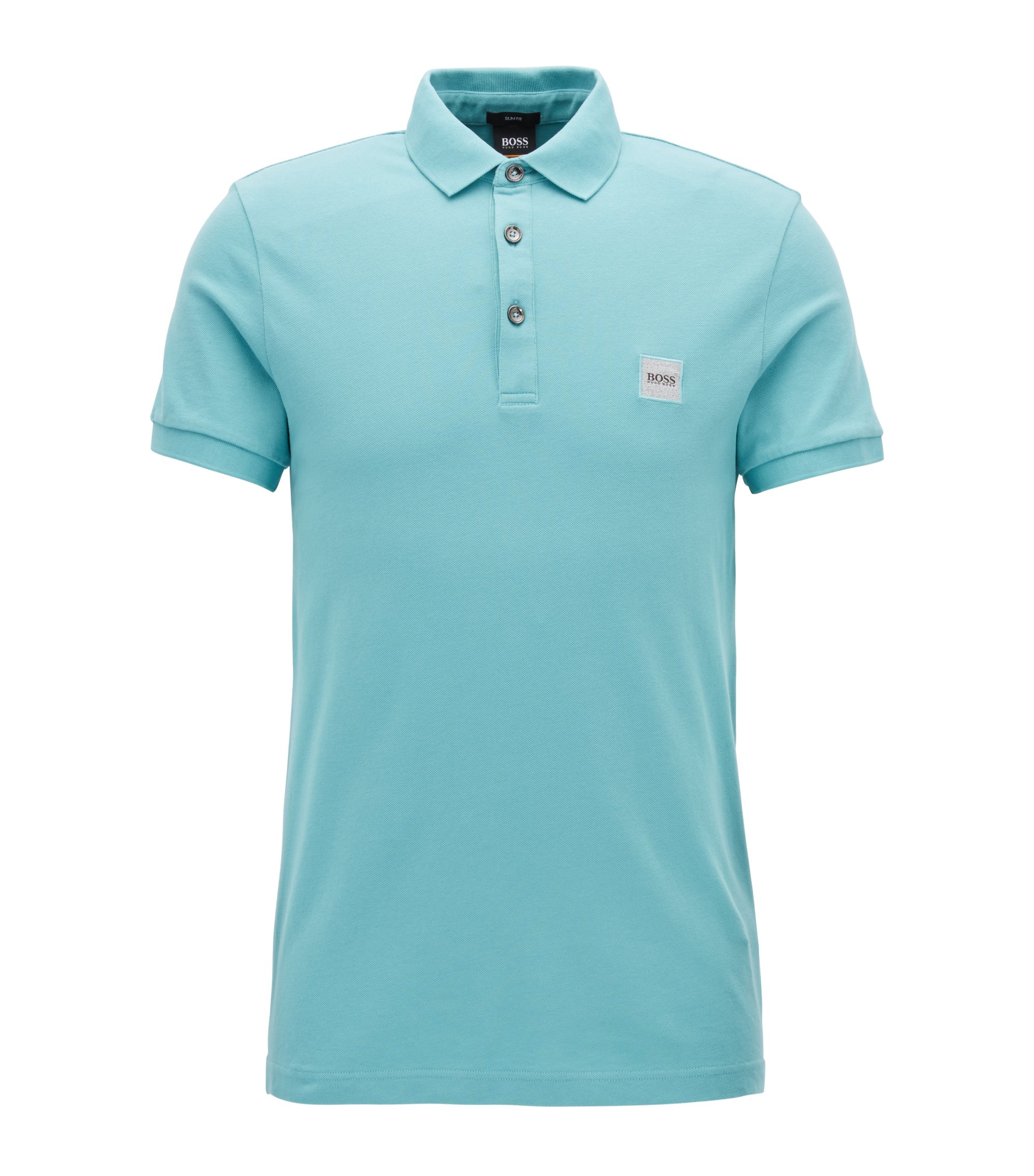Slim-fit polo shirt in stretch cotton piqué, Turquoise