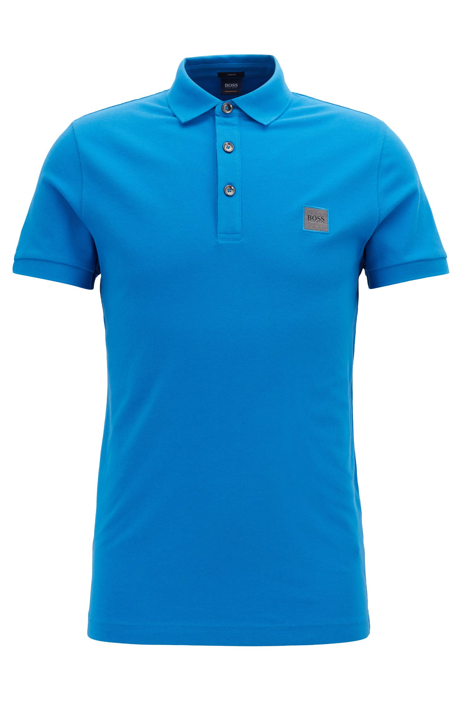 Slim-fit polo shirt in stretch cotton piqué, Light Blue