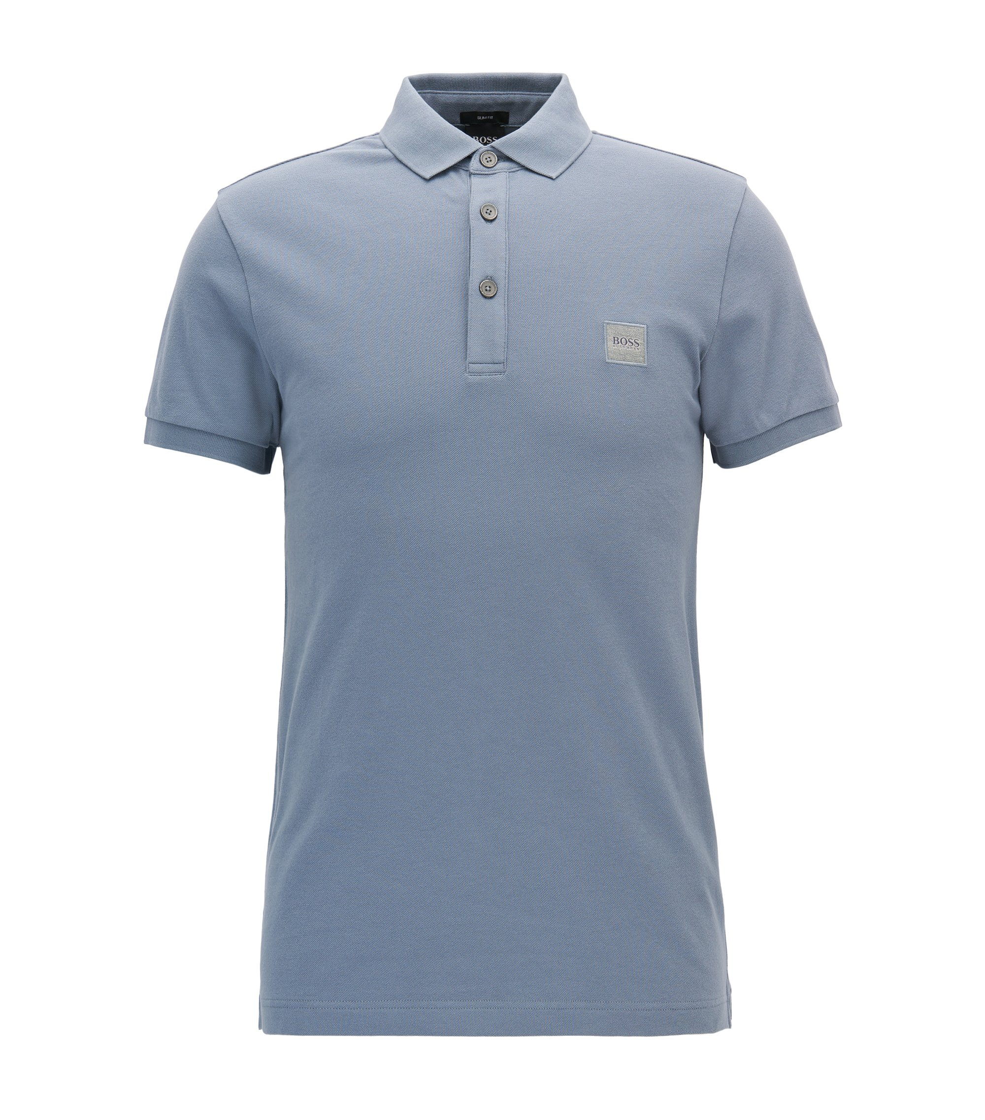 Polo Slim Fit en piqué de coton stretch, Bleu