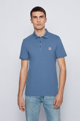 Slim-fit polo shirt in washed piqué with logo patch, Light Blue