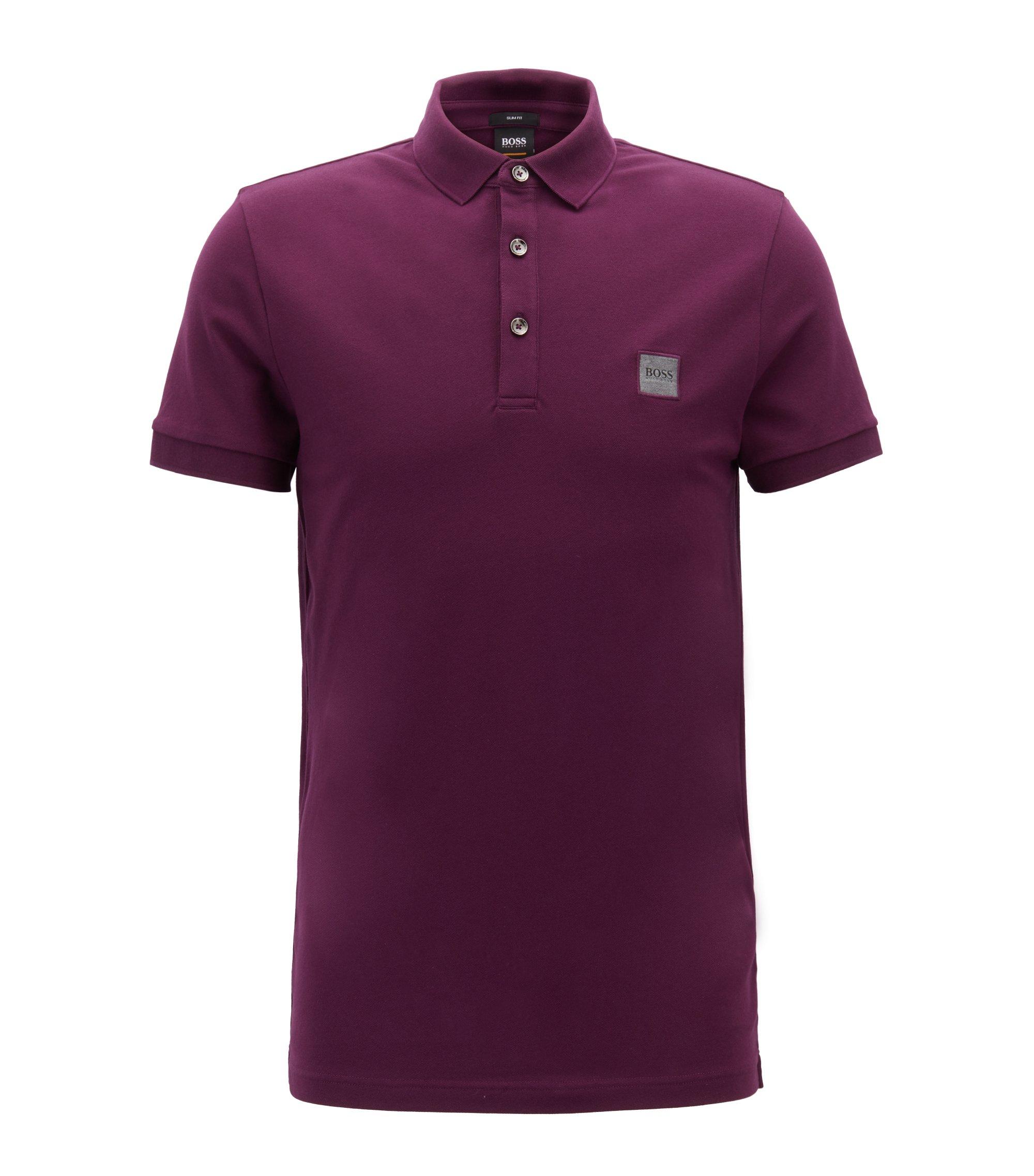 Slim-fit polo shirt in stretch cotton piqué, Light Purple