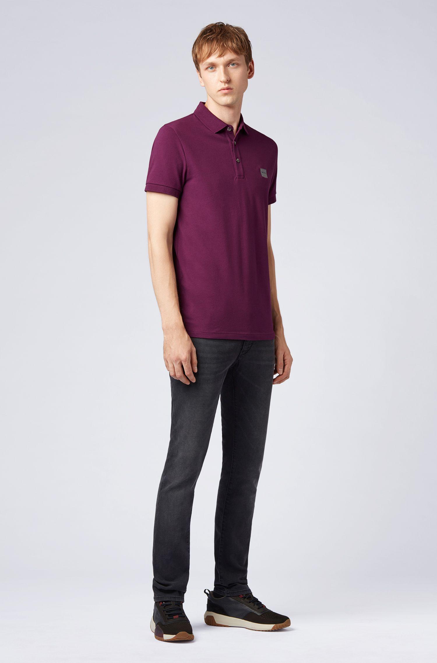Polo Slim Fit en piqué de coton stretch, Violet clair