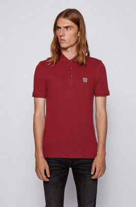 Slim-fit polo shirt in washed piqué with logo patch, Dark Red