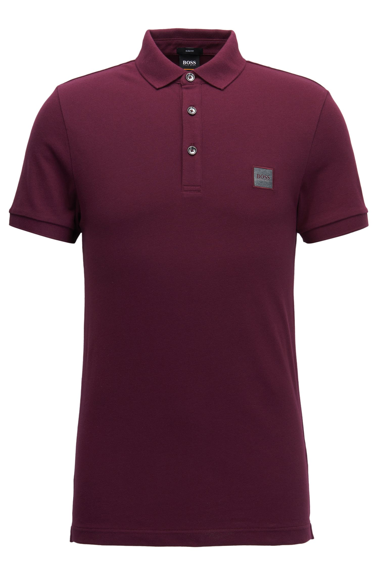 Slim-fit polo shirt in stretch cotton piqué