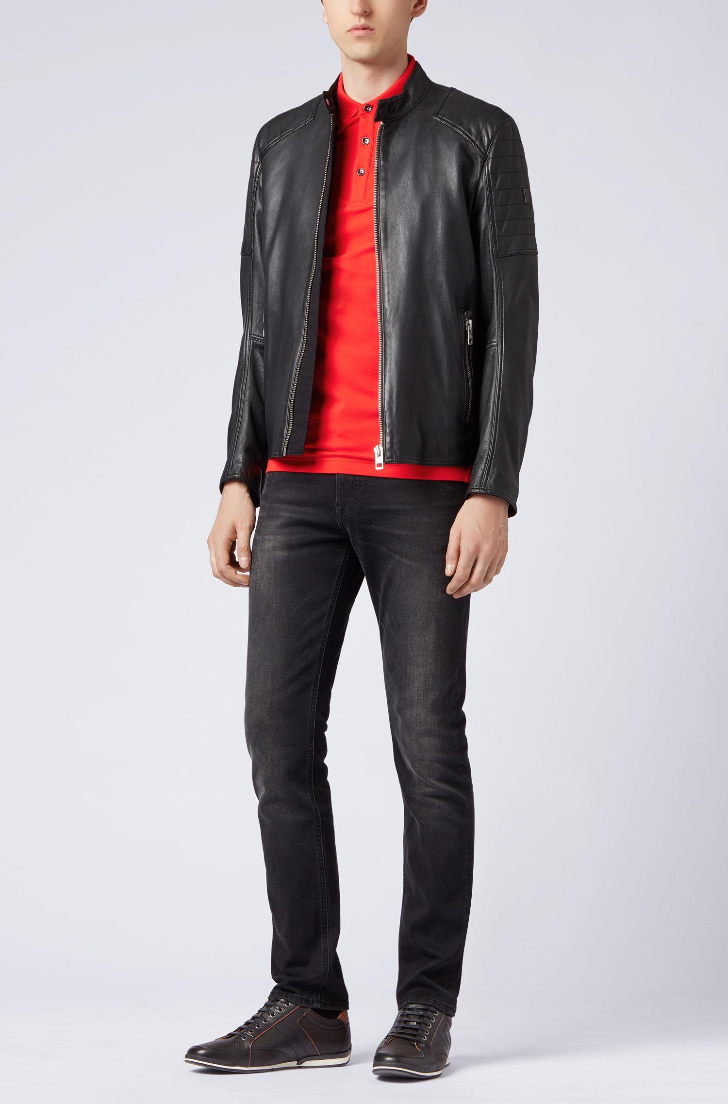 Slim-Fit Poloshirt aus elastischem Baumwoll-Piqué, Rot