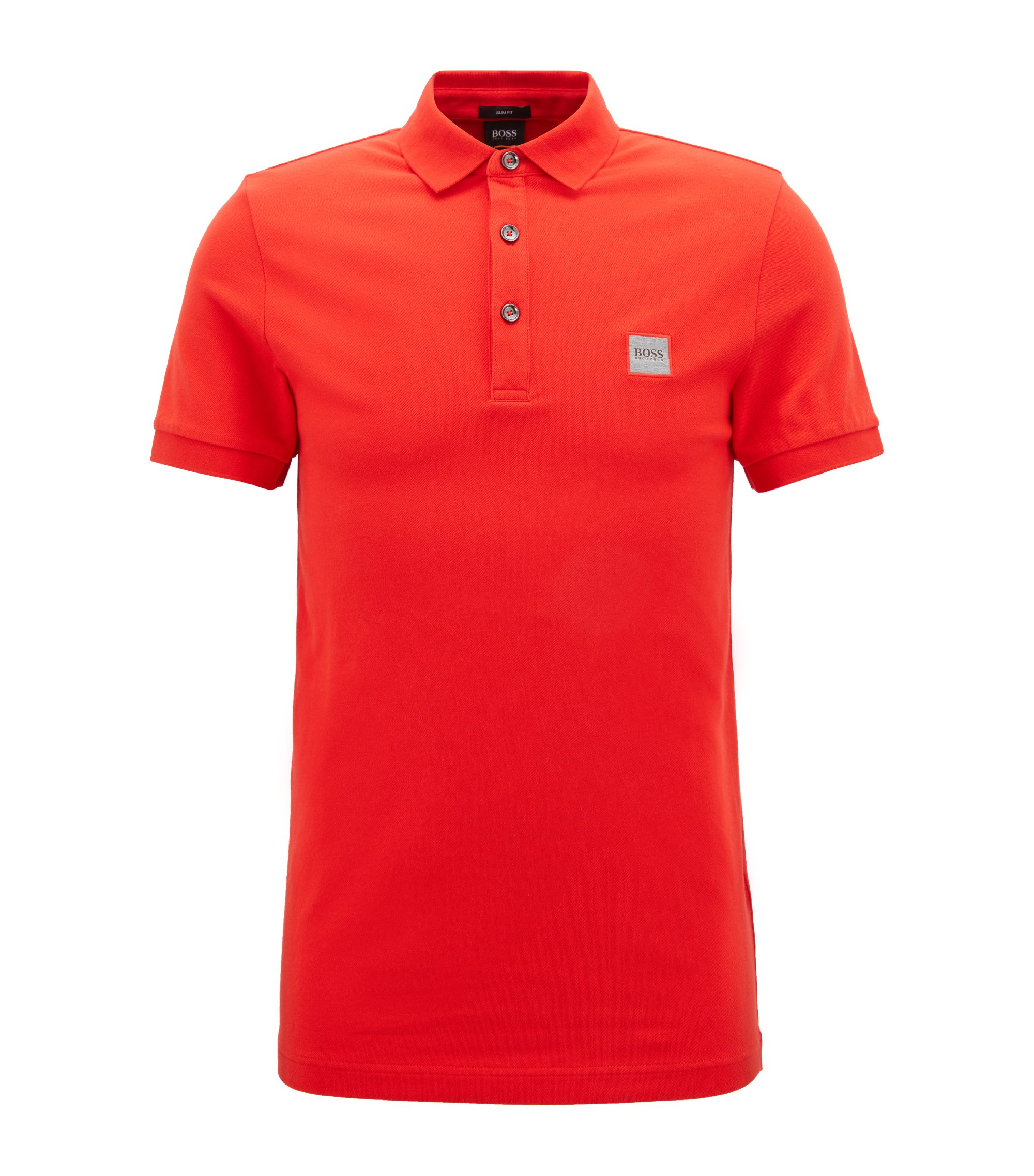 Slim-fit polo shirt in stretch cotton piqué, Red