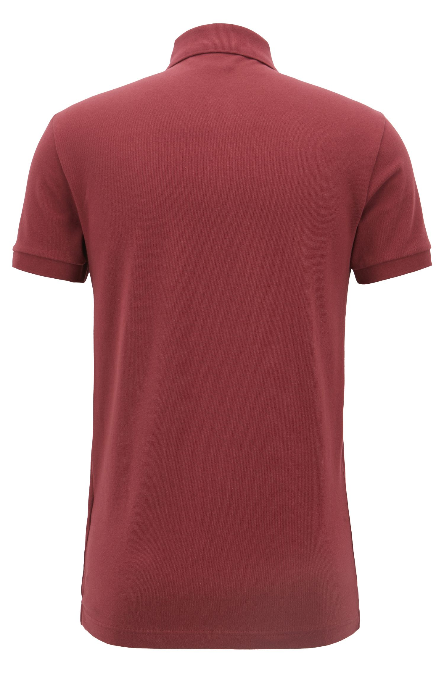 Slim-fit polo shirt in stretch cotton piqué, Dark Red