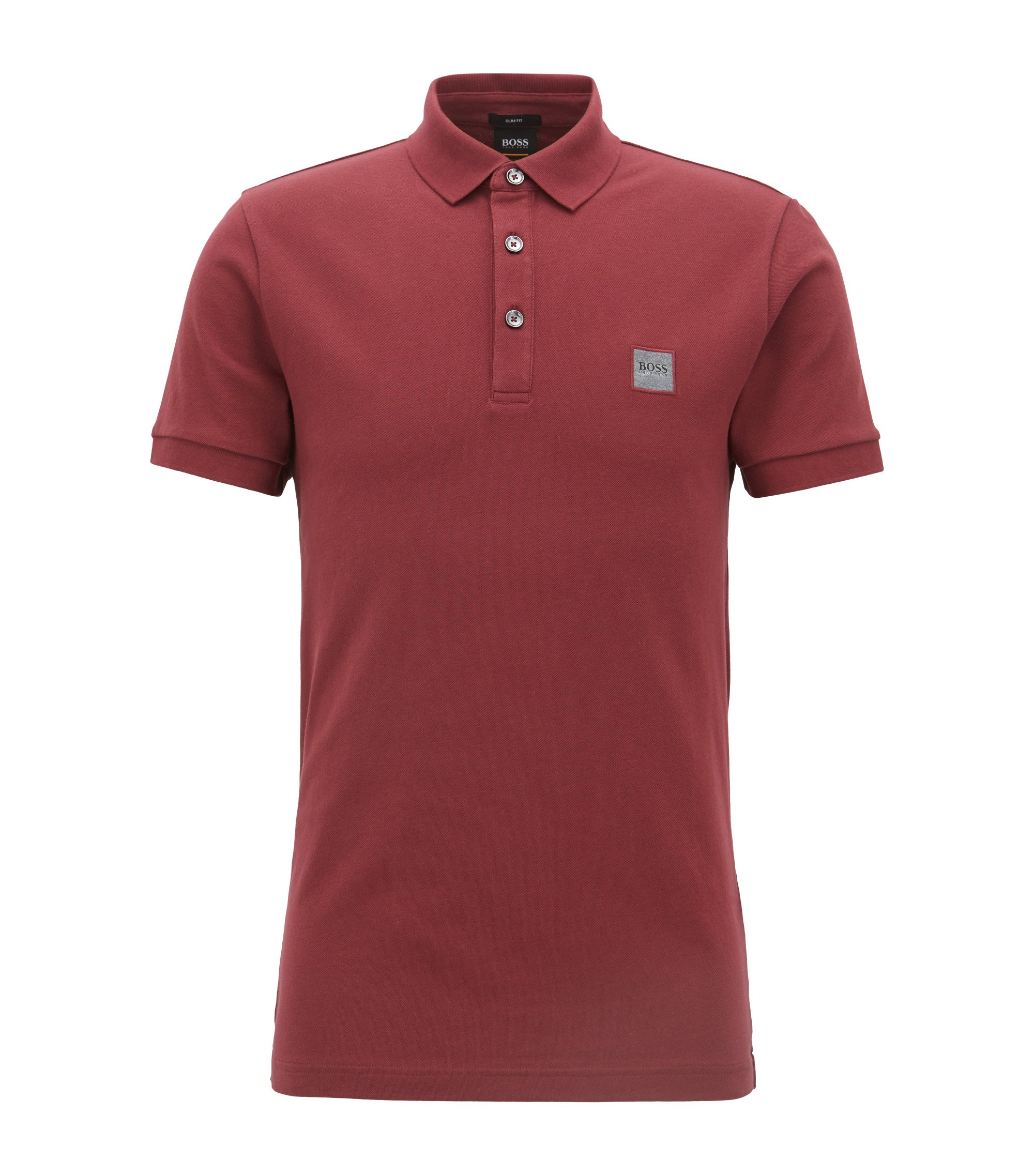 Slim-fit polo van katoenpiqué met stretch, Donkerrood