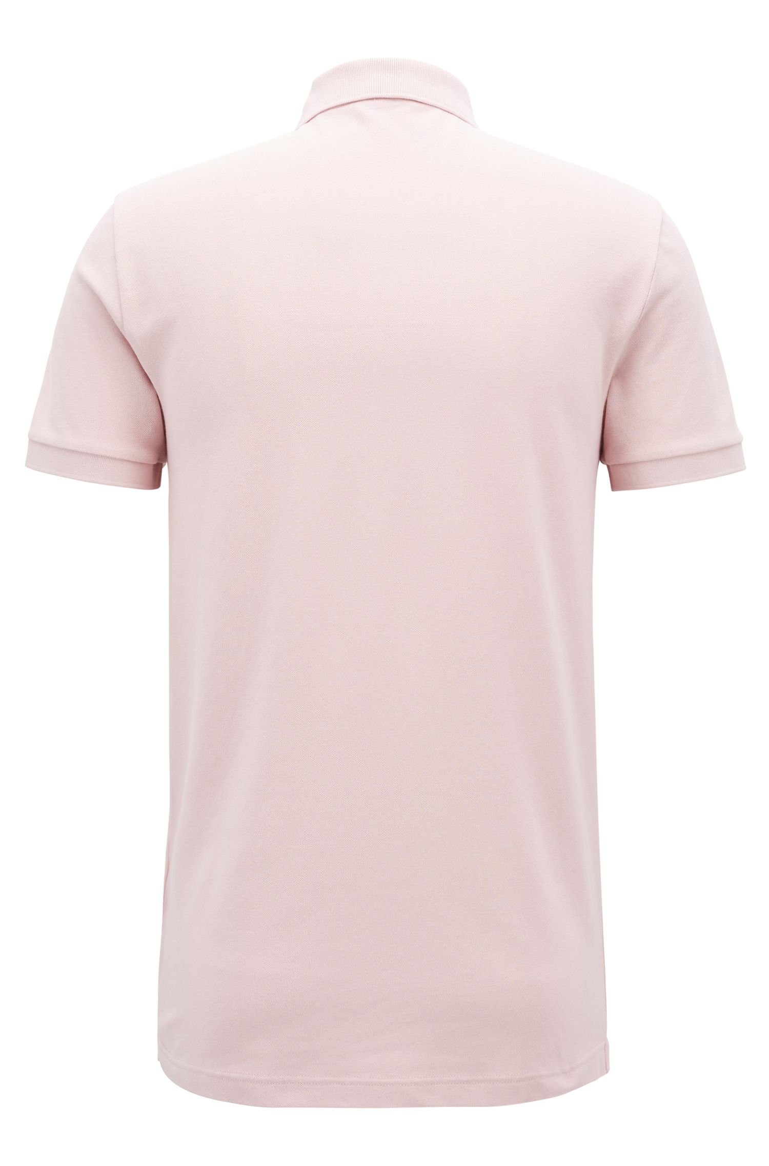 Polo Slim Fit en piqué de coton stretch, Rose clair