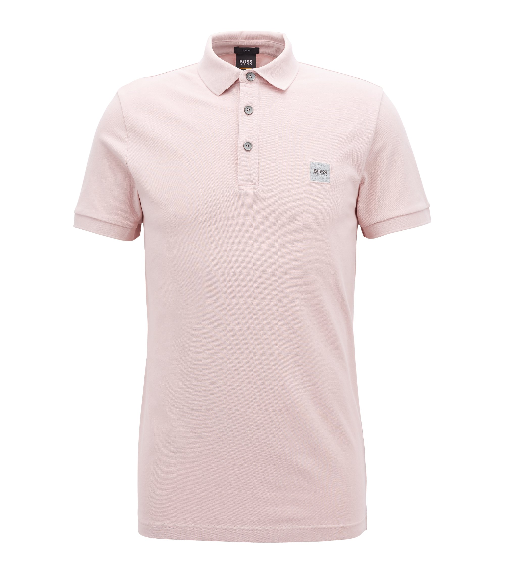 Slim-fit polo shirt in stretch cotton piqué, light pink