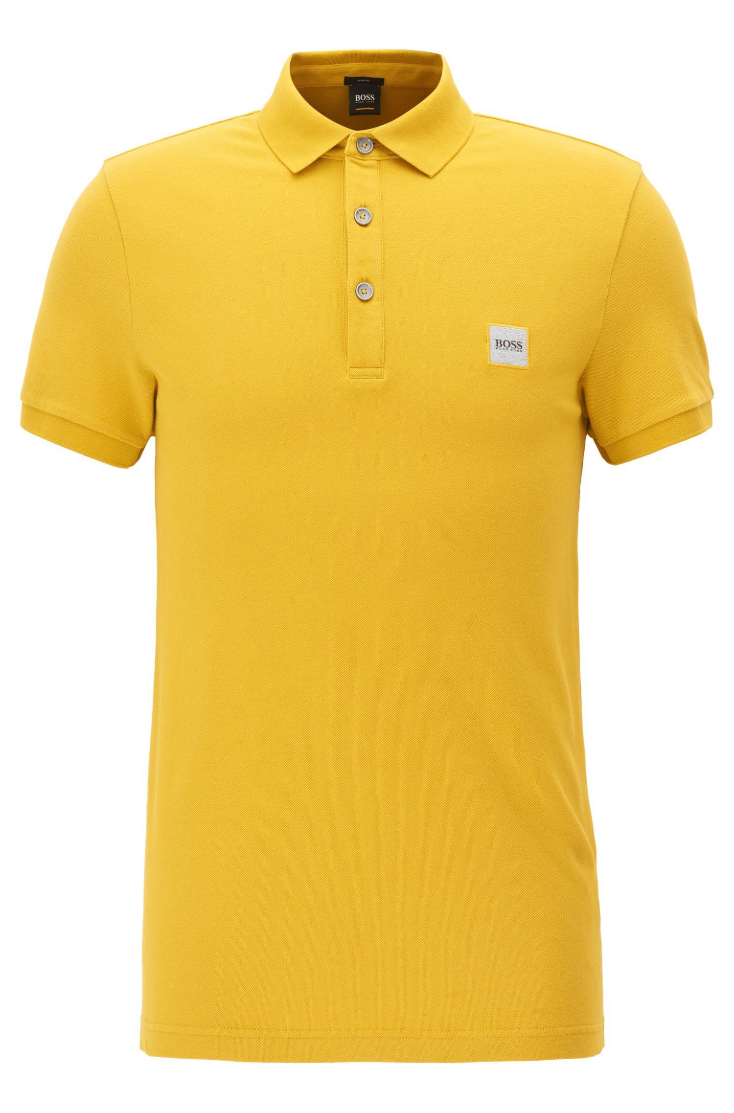 Slim-Fit Poloshirt aus elastischem Baumwoll-Piqué