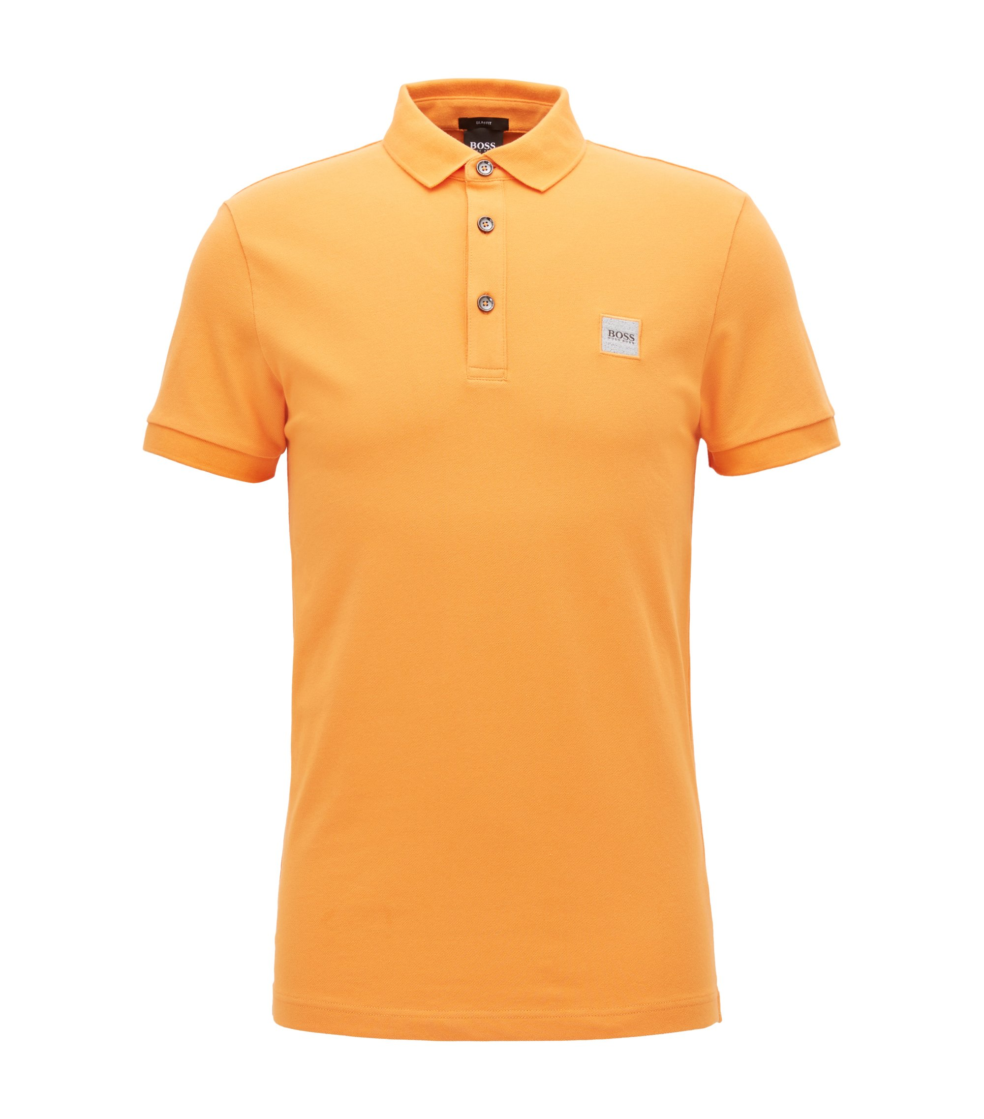 Polo Slim Fit en piqué de coton stretch, Orange