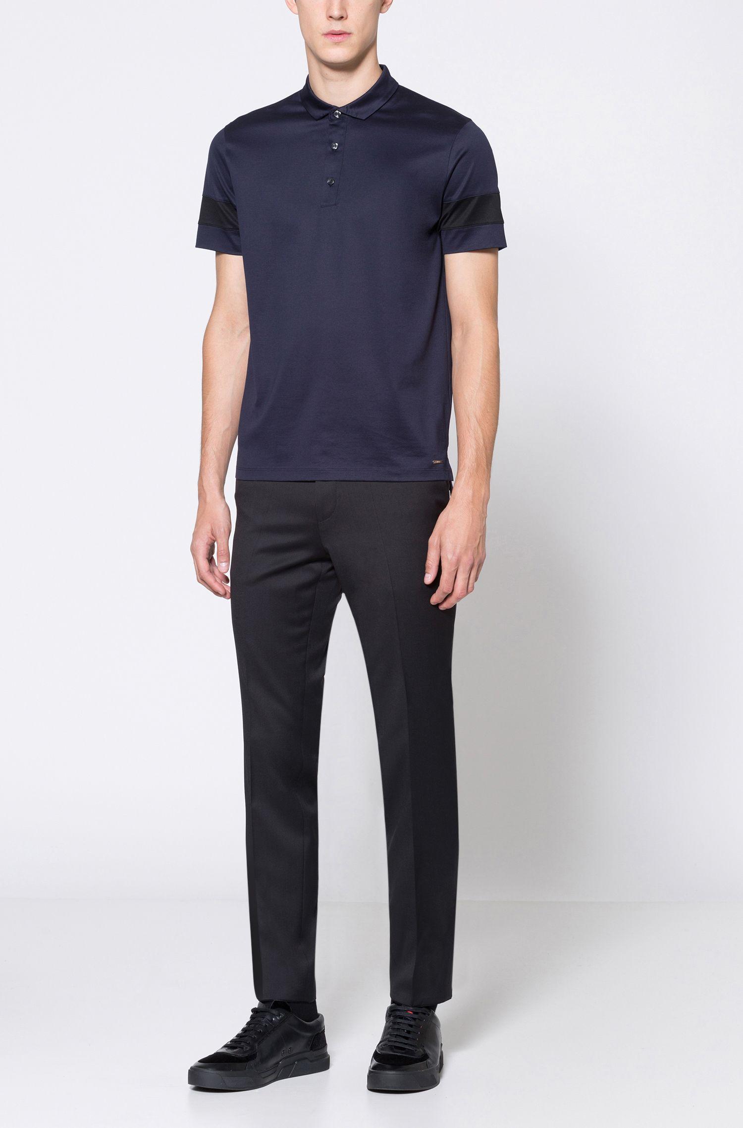 Polo Slim Fit en coton mercerisé avec manches à rayures contrastantes