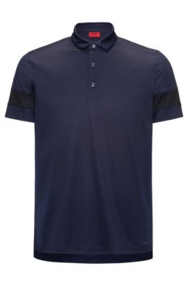Slim-fit mercerised cotton polo shirt with contrast stripe sleeves, Dark Blue