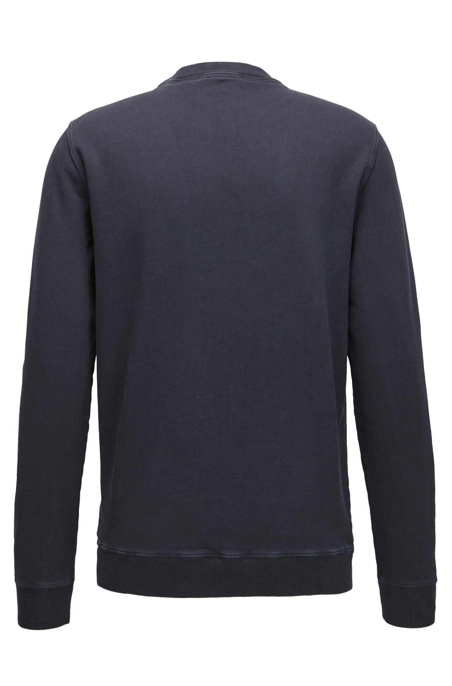 Trui van garment-dyed katoen met logo, Donkerblauw