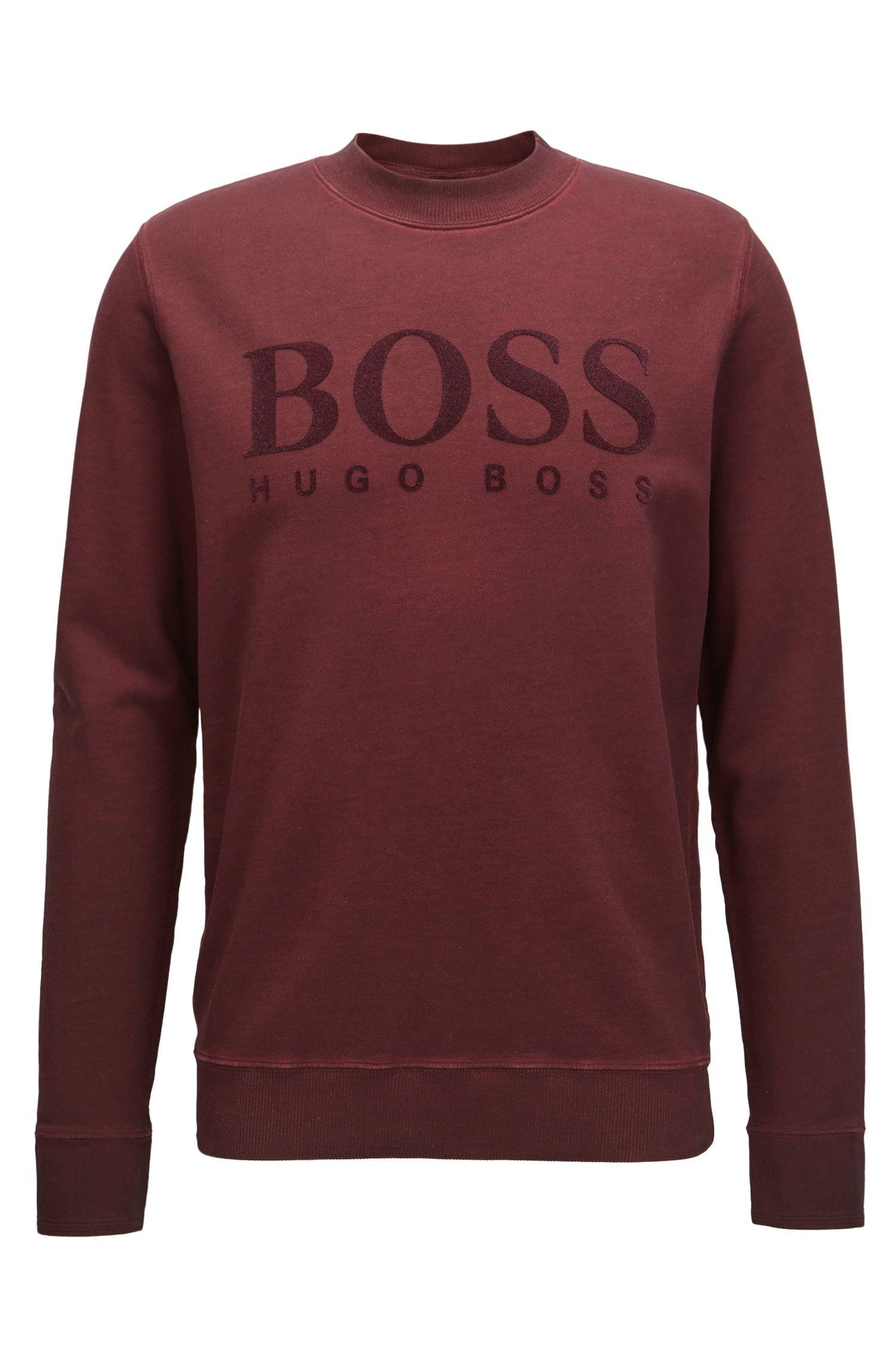 Stückgefärbter Pullover aus Baumwolle mit Logo