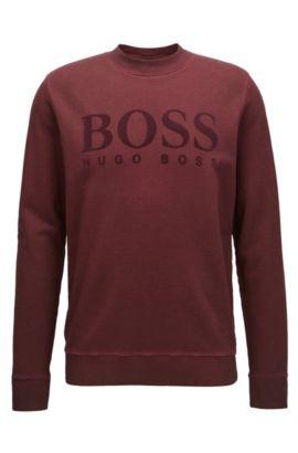 Trui van garment-dyed katoen met logo, Rood