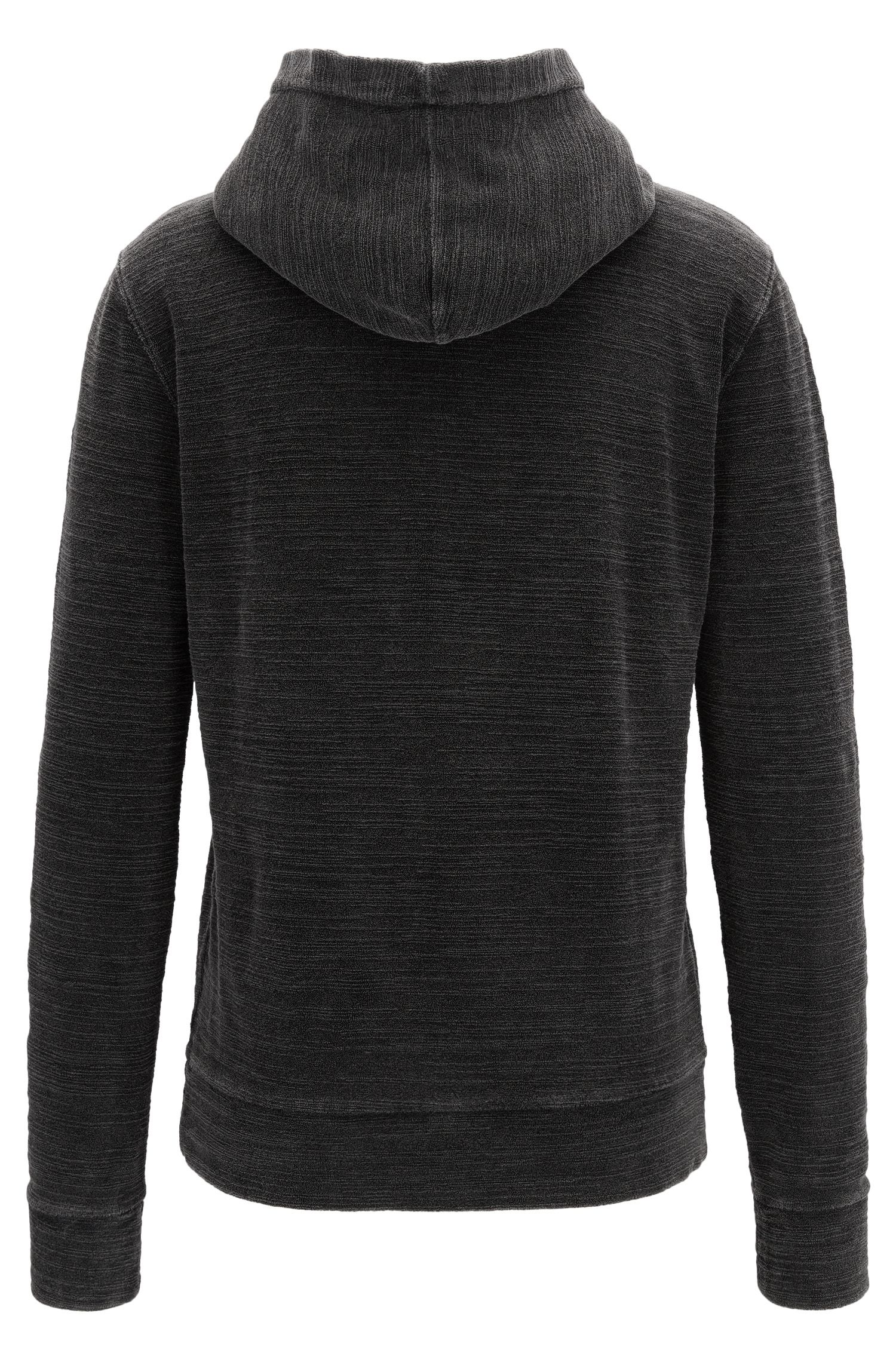Zip-neck hoodie in acid-washed cotton terry