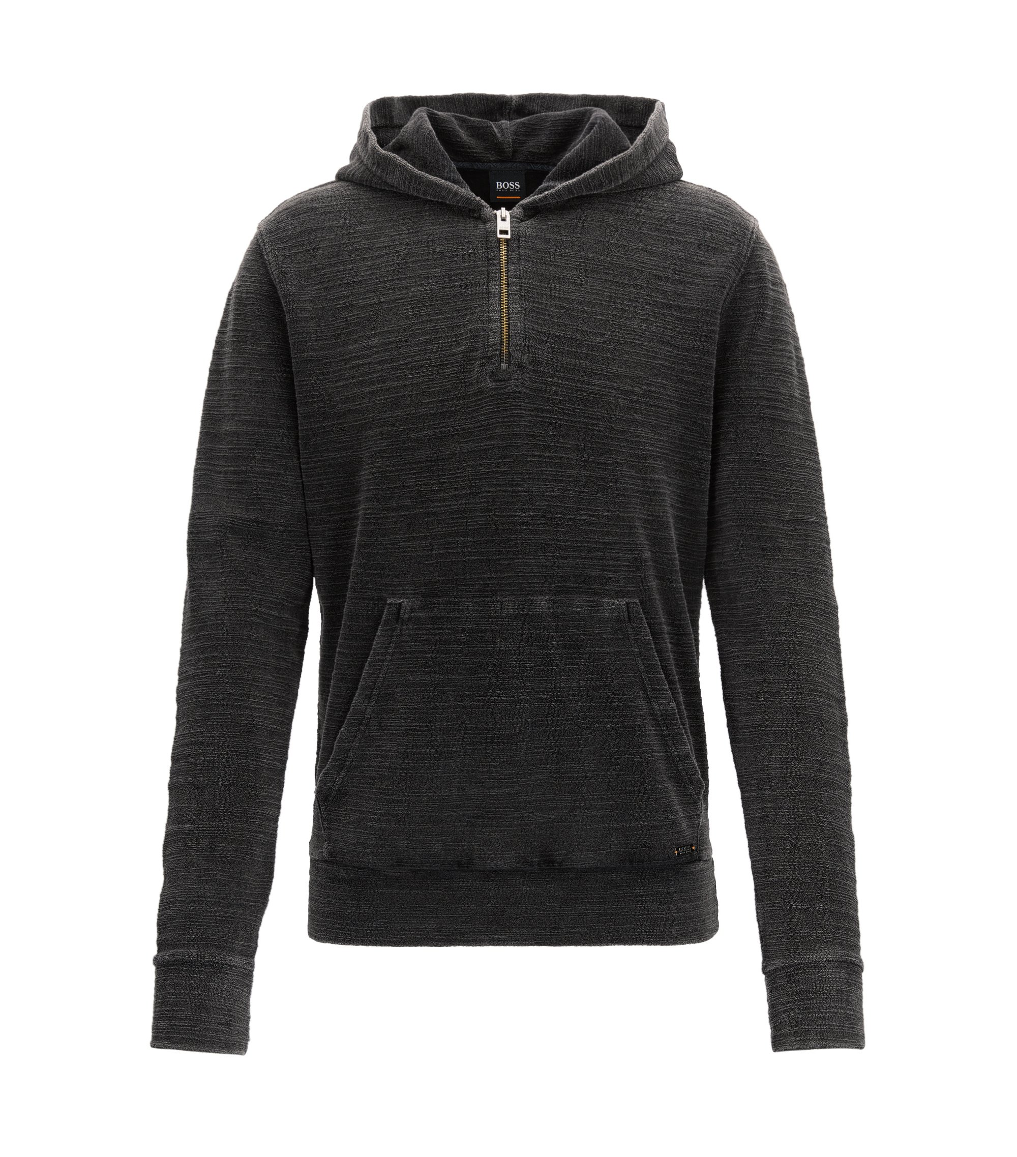 Zip-neck hoodie in acid-washed cotton terry, Black