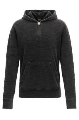 Sudadera con capucha y cuello con cremallera en felpa de algodón lavado con ácido, Negro