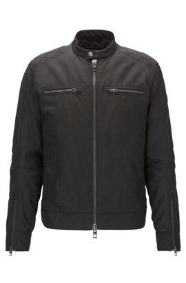 Slim-fit jas van gewaxt canvas met PrimaLoft® , Zwart