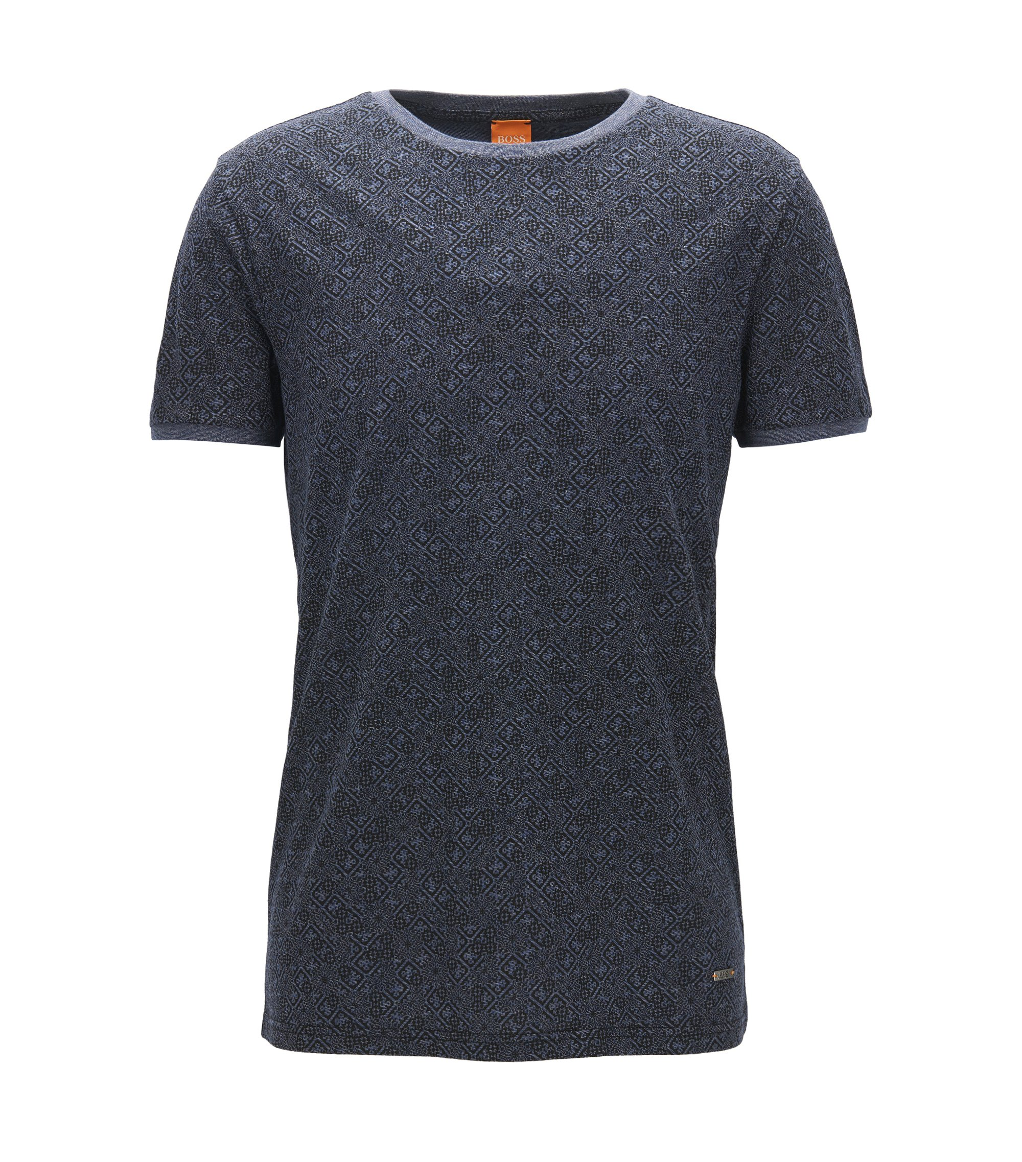 Printed cotton T-shirt in a regular fit, Dark Blue