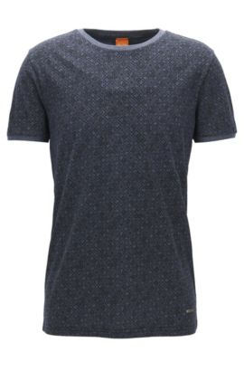 T-shirt Regular Fit en coton imprimé, Bleu