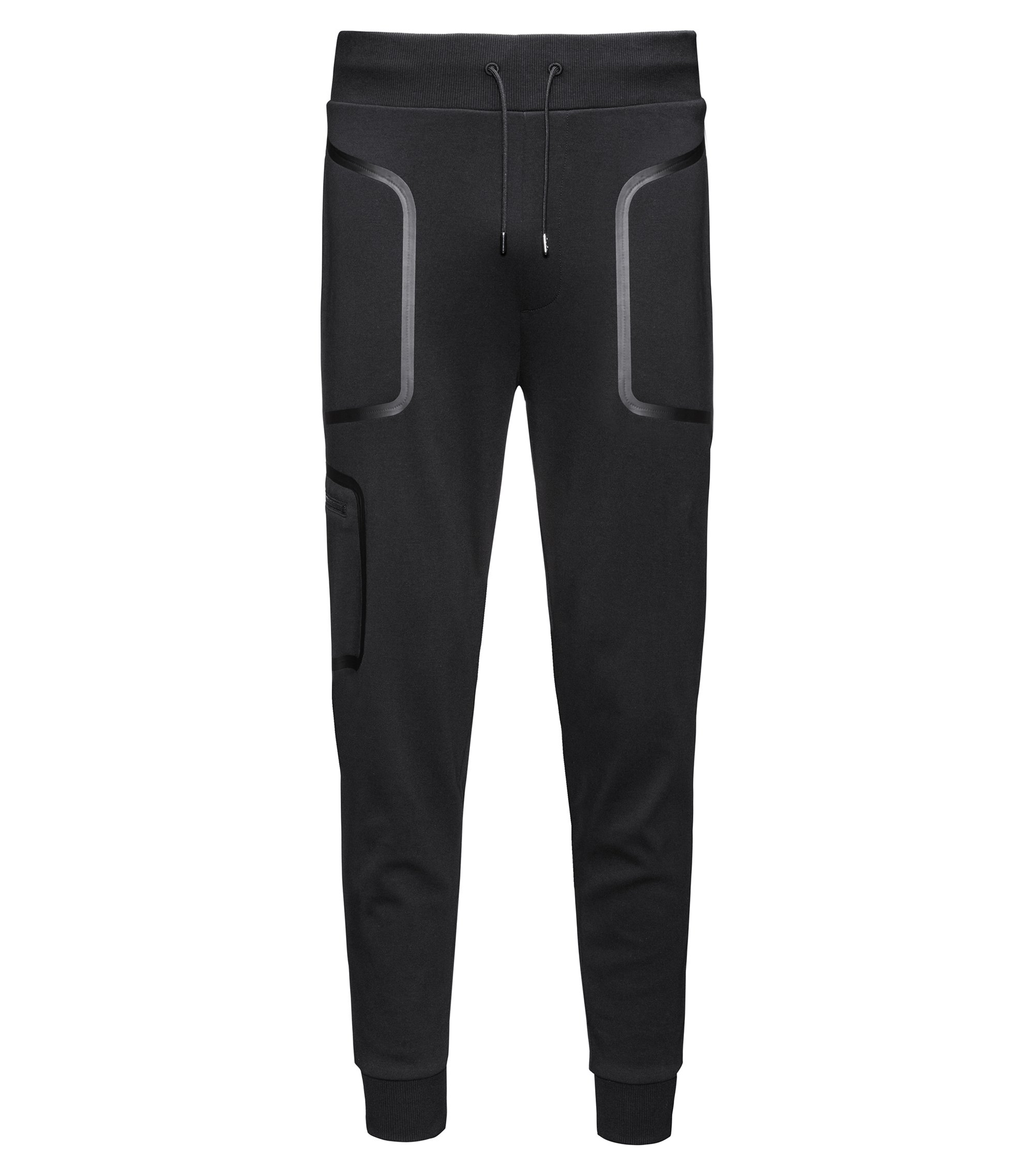 Relaxed-fit jogging bottoms in interlock cotton, Black
