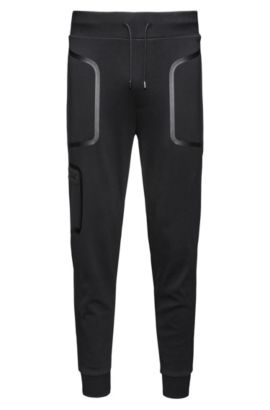 Relaxed-fit joggingbroek van interlocked katoen, Zwart