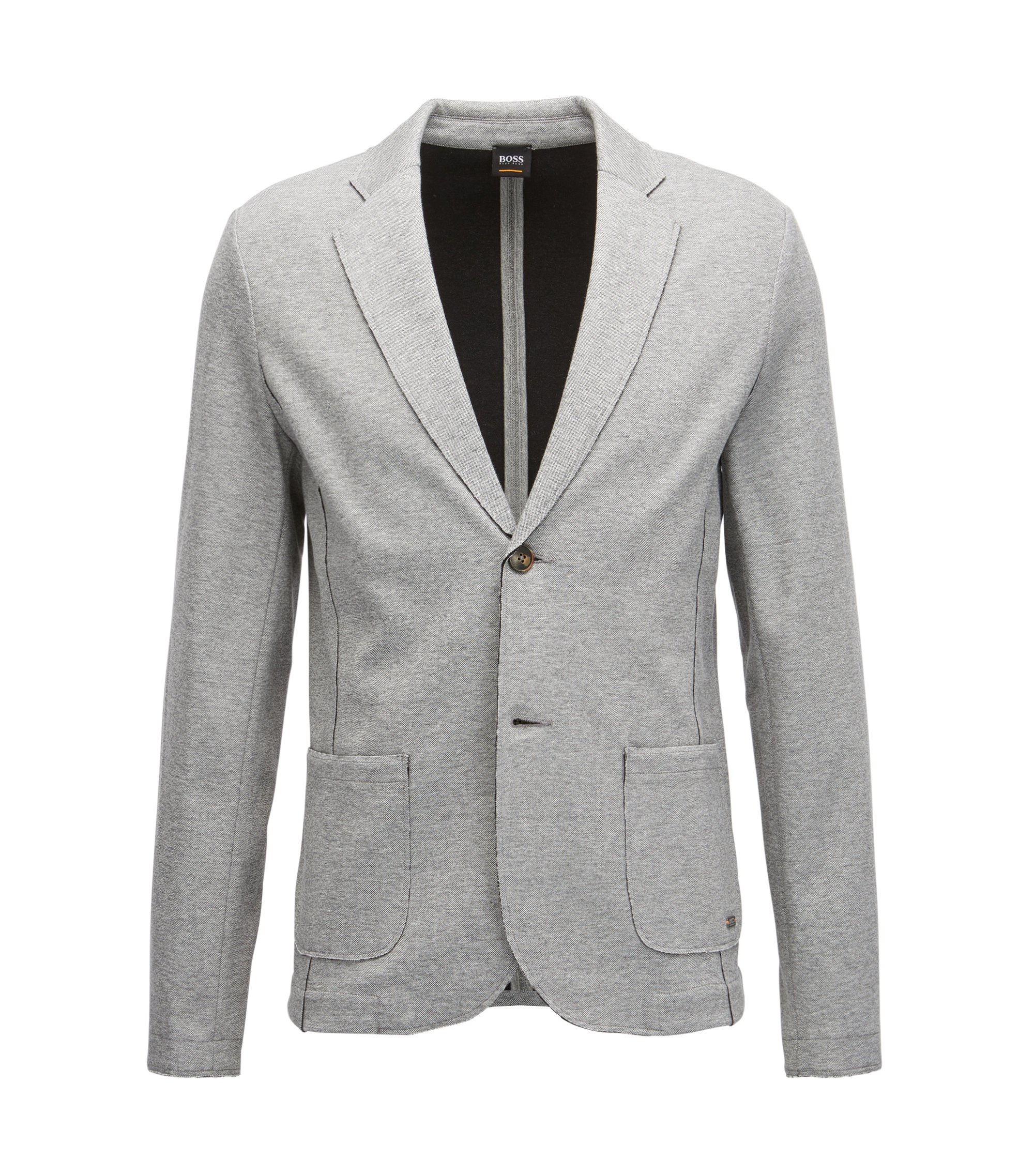 Regular-fit jacket in double-layered jersey with raw edges, Light Grey