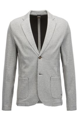 Regular-fit jacket in double-layered jersey with raw edges, Gris chiné