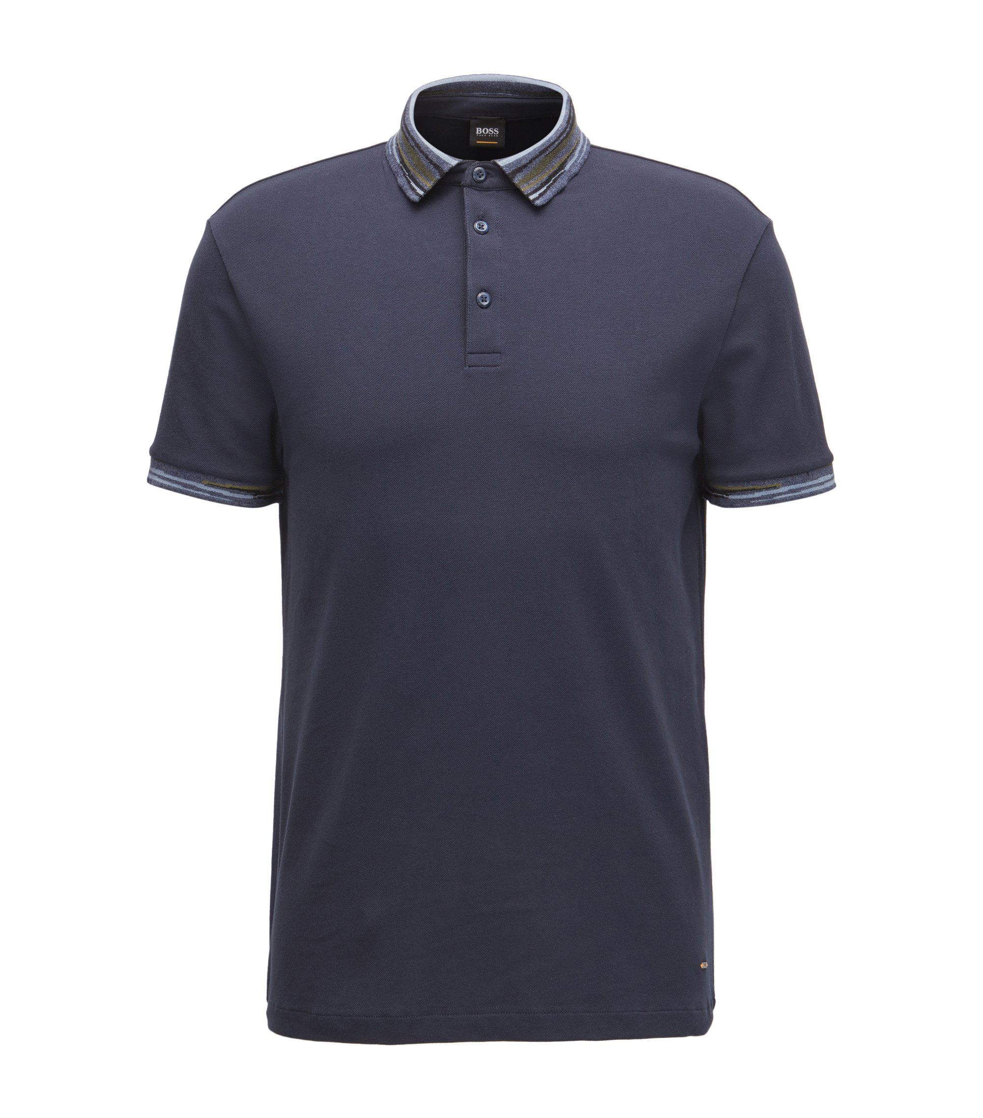 Regular-fit poloshirt van katoenen piqué met stretch en een abstract streepdessin, Donkerblauw