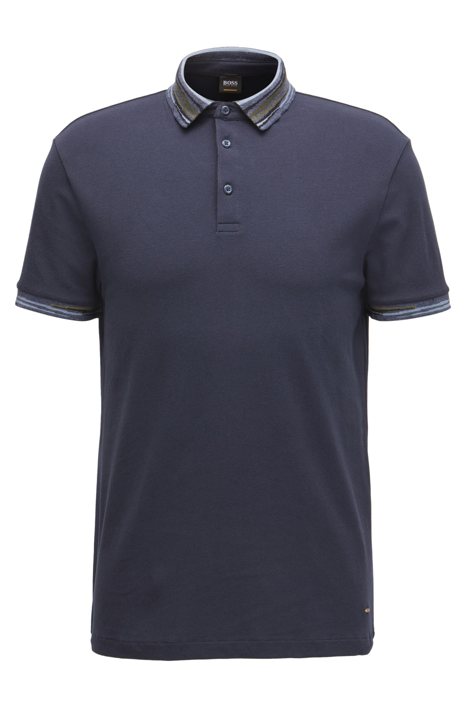 Polo Regular Fit en piqué de coton stretch, avec rayures abstraites