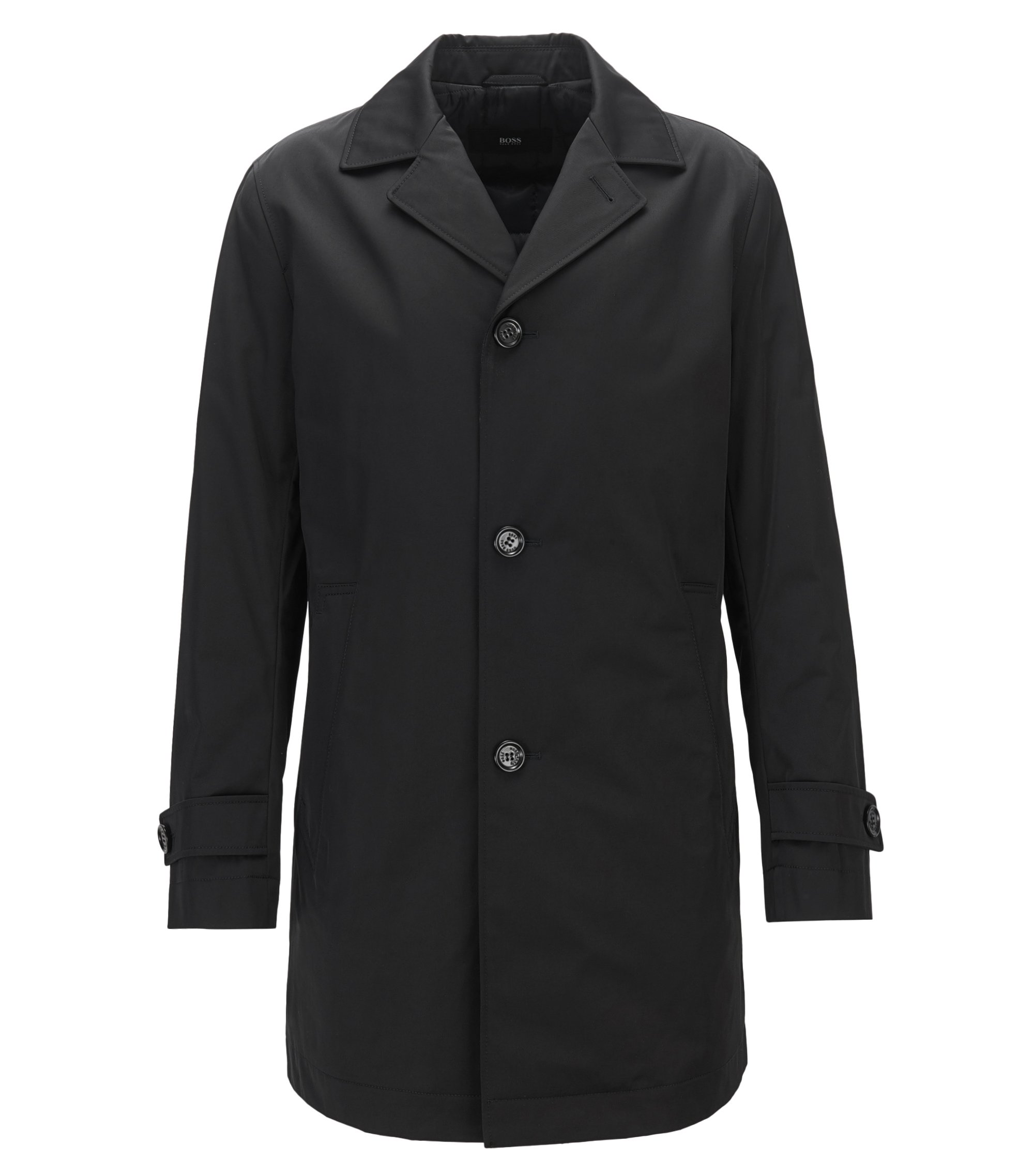 Slim-fit coat in water-repellent twill, Black