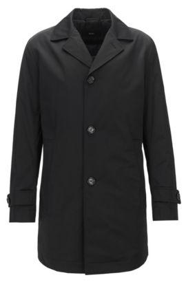 Slim-fit mantel van een waterafstotende twill, Zwart
