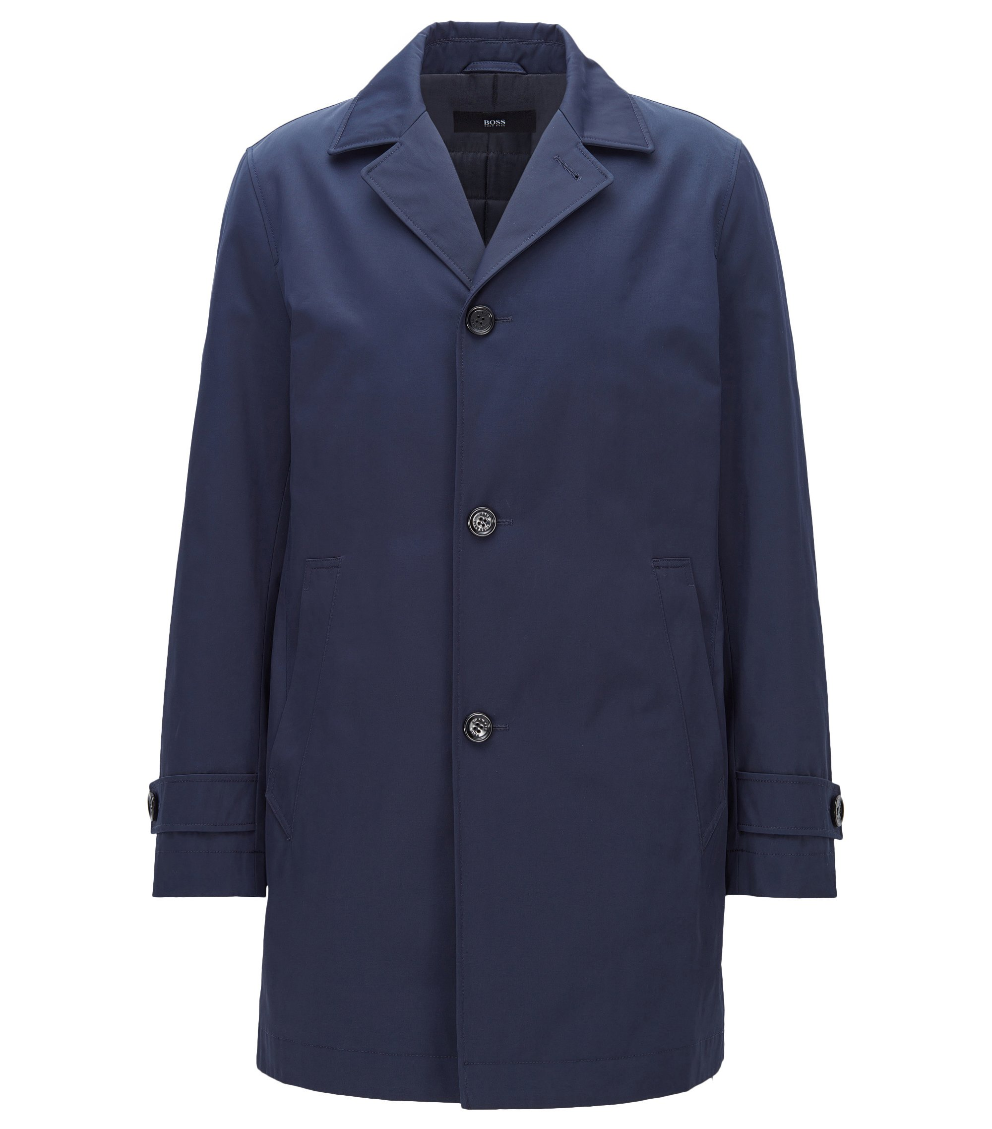 Slim-fit coat in water-repellent twill, Dark Blue