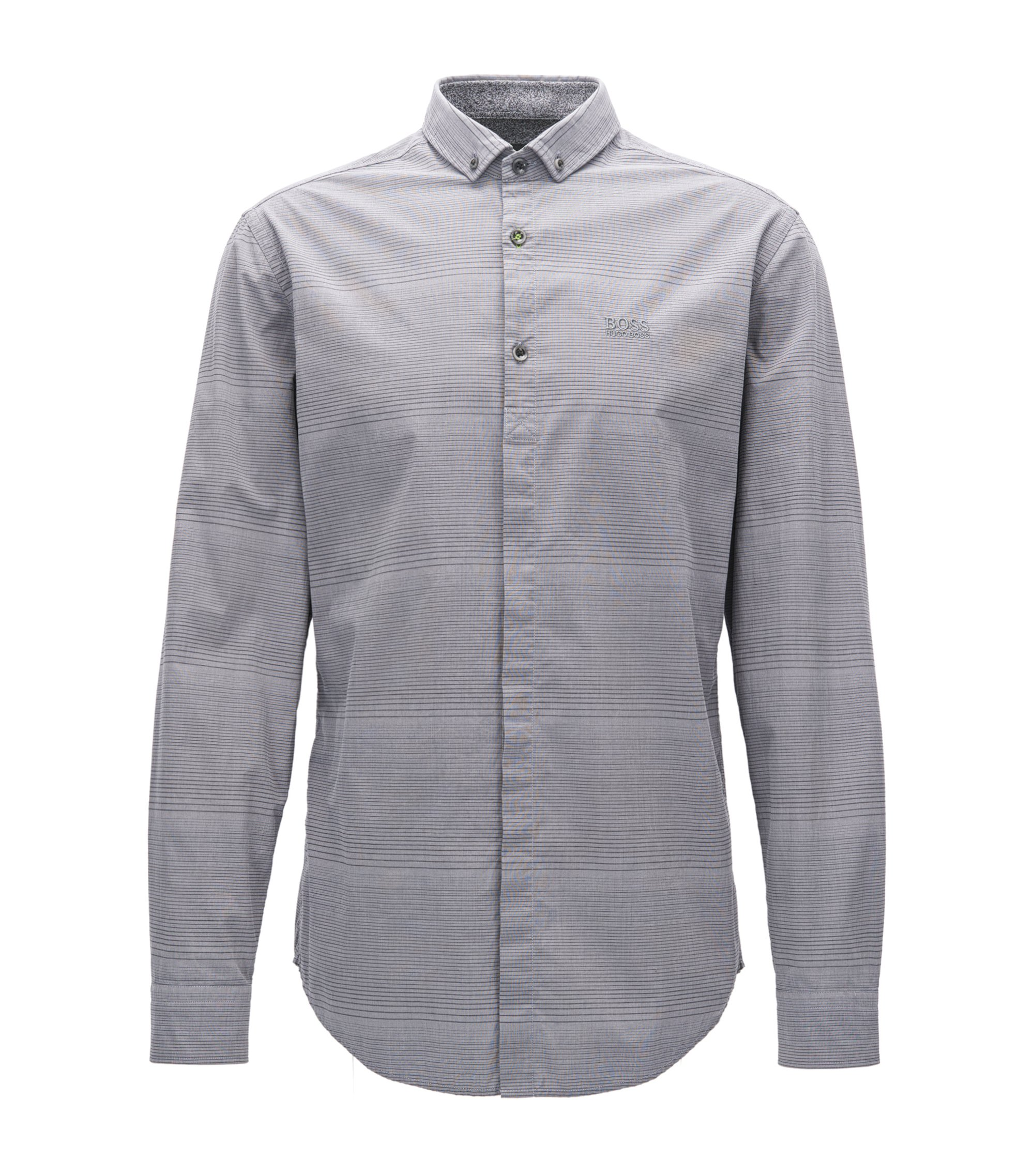 Chemise Slim Fit en jersey de coton stretch, Gris