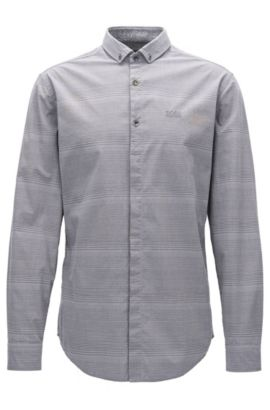 Slim-fit stretch-cotton shirt with jersey, Grey