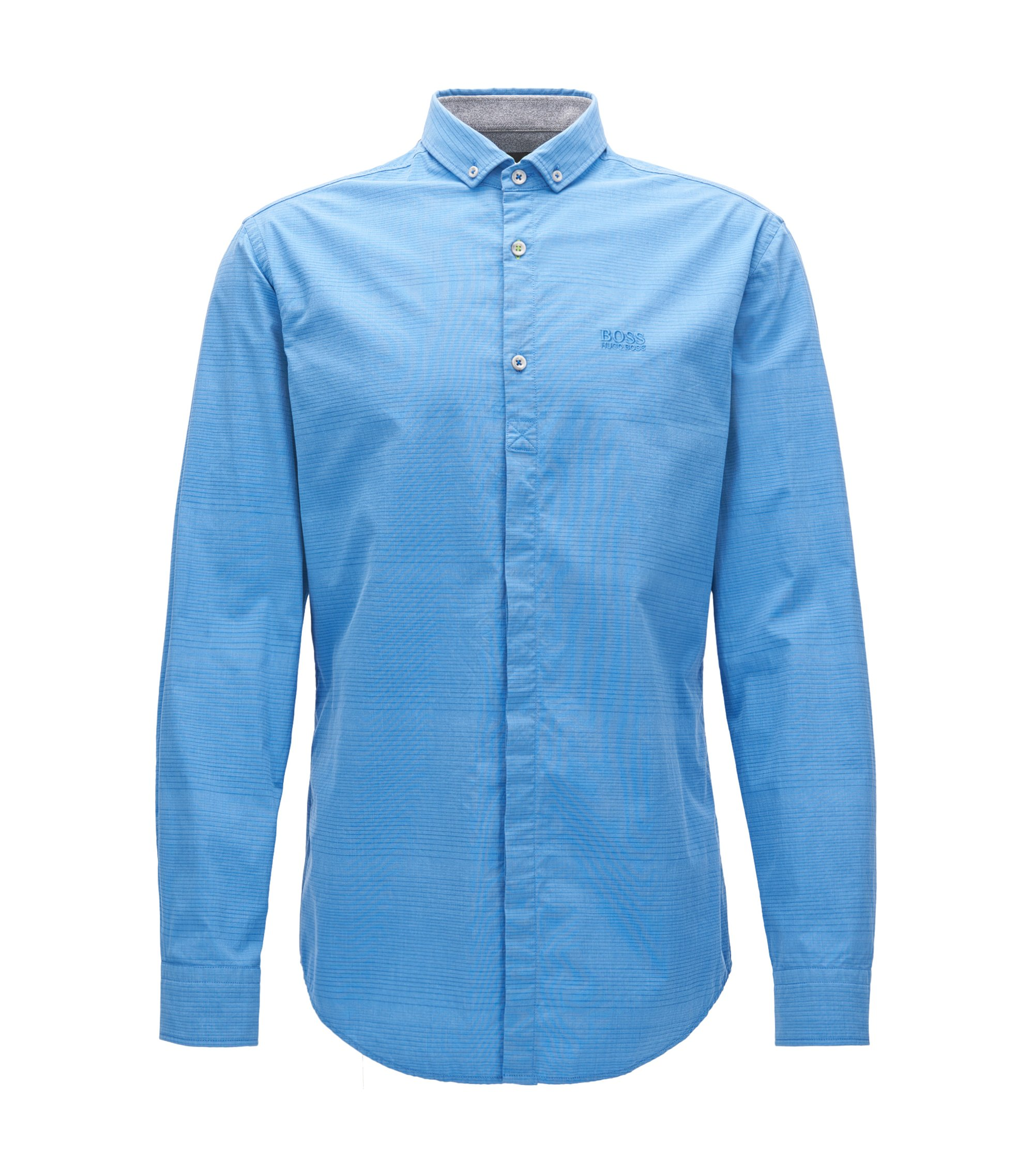 Slim-fit stretch-cotton shirt with jersey, Blue