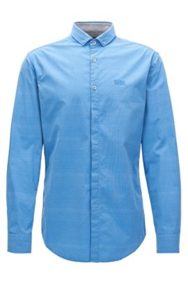 Chemise Slim Fit en jersey de coton stretch, Bleu